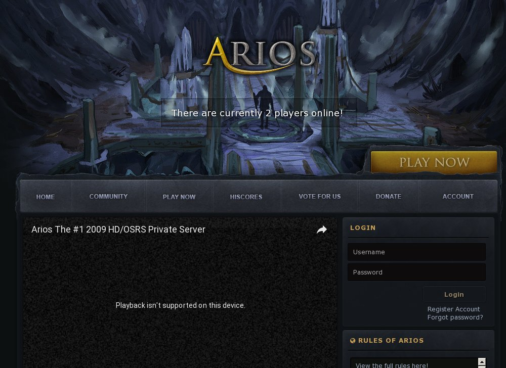 Arios 530 - OSRS in HD - RSPS List - RuneScape Private Servers
